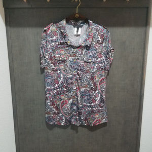 BCBGMaxAzria - Colorful Snap-Front Blouse - Large